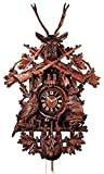 Cuckoo Clock - 8-Day Hunter with Rifles, Horn, Deer & Animals - HÖNES