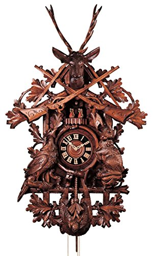 Cuckoo Clock - 8-Day Hunter with Rifles, Horn, Deer & Animals - HÖNES by HONES