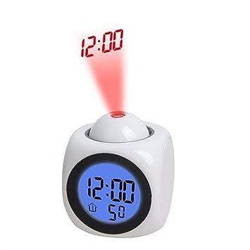 Gugutogo Reloj de proyección multifunción LED Que Habla Alarma de proyección Colorida Reloj de Voz Pantalla de Tiempo y Temperatura Digital (Color: Blanco): ...