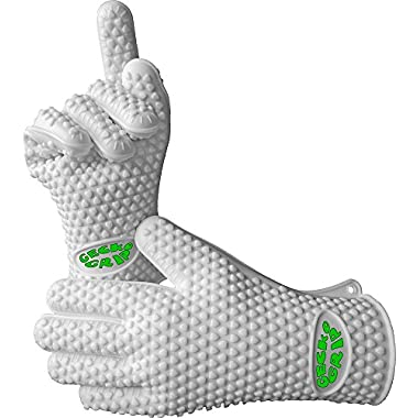 Verde River Products Silicone Heat Resistant Grilling BBQ Glove Set, Use As Potholder & Protective Oven, Grill, Baking, Smoking & Cooking Gloves, Small, White