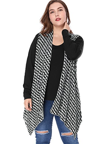 (Agnes Orinda Women's Plus Size Zig-zag Pattern Irregular Hem Knit Cardigan 1X Grey )