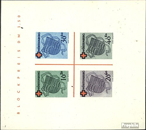 Franz. Zone-Württemberg block1i (Complete.Issue.) Tested with Attest 1949 Red Cross (Stamps for Collectors) Red Cross