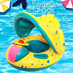 Here Fashion Baby Spring Float Swimming Ring Inflatable Swimming Safety Seat Adjustable Sunshade Seat Boat Ring - Suitable For16-36 month old