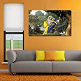 999Store unframed Printed Radha Krishna Swinging Canvas Painting for Living Room (150x 91Cms)