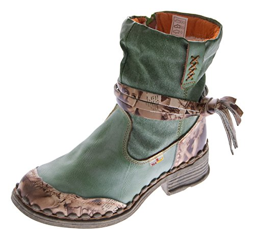 75f4acb3c18ba4 Leder Damen Winter Stiefeletten Comfort Boots Knöchel Schuhe Schwarz Weiß  Grün Blau TMA 5050 gefüttert Grün