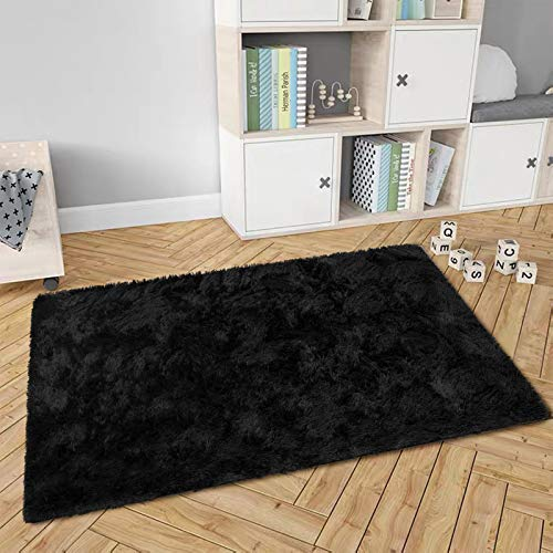 Maxsoft Fluffy Rug For Bedroom Black Shag Area Rug For Living Room 4 X 5 9 Feet Fuzzy Rug For Girls Kids Carpet Plush Rug For Nursery Bedside Floor Pricepulse