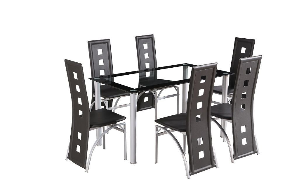 CRAZY SALE : Glass Square Dining Room Table Set And 6 Chairs Faux Leather  Furniture : Black: Amazon.co.uk: Kitchen U0026 Home