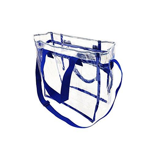 Yiuswoy Transparent Strandtasche Schultertasche Wassderdicht PVC Tasche für Strand, Pflegeprodukte oder Kosmetik - Schwarz Blau