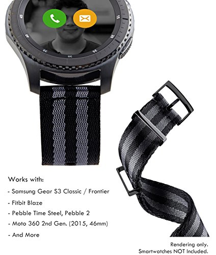 Bezel Pvd Strap (Truffol 22mm 2-Piece NATO Strap for Samsung Gear S3 Frontier & Classic, Fitbit Blaze, Huawei Watch 2 Classic - Quick Release Nylon Watch Band with PVD Steel Metal Buckle Loop)