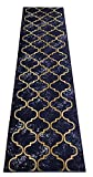 Custom Size Trellis Royal Navy Blue Roll Runner 26 in Wide x Your Length Choice Slip Resistant Rubber Back Area Rugs and Runners (Royal Navy Blue, 16 ft x 26 in)