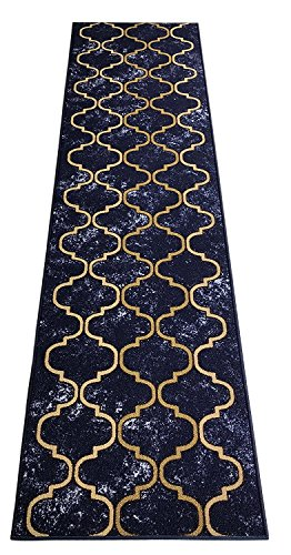 Navy Roll Runner - Custom Size Trellis Royal Navy Blue Roll Runner 26 in Wide x Your Length Choice Slip Resistant Rubber Back Area Rugs and Runners (Royal Navy Blue, 12 ft x 26 in)