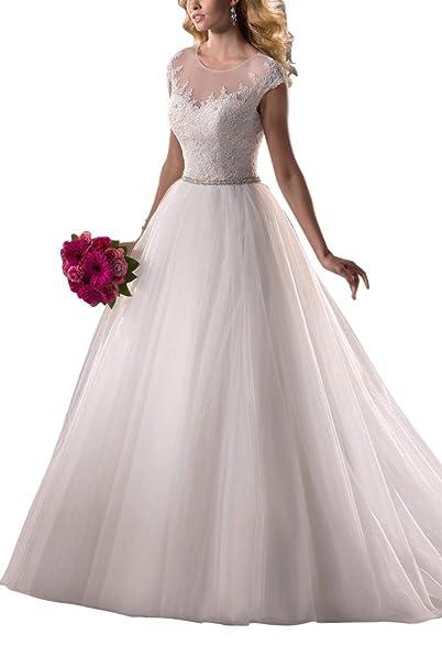 George Bride encaje de manga corta Organza vestido de novia de novia (
