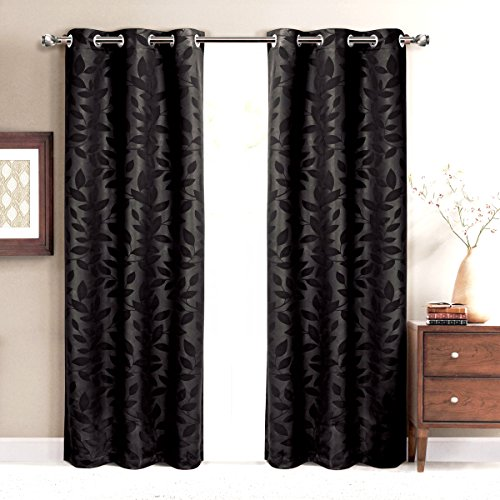 Virginia Black Grommet Blackout Weave Embossed Window Curtain Panels, Pair / Set of 2 Panels, 74×84 inches Each, by Royal Hotel