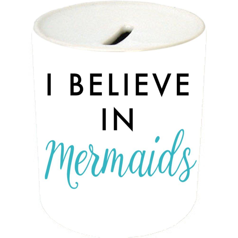 I Believe in Mermaids Black and Teal Type Ceramic Coin Saving Bank/Money Jar/Piggybank