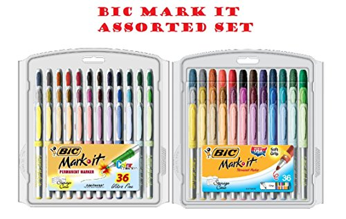 bicr-mark-it-permanent-markers-fine-point-and-ultra-fine-point-assorted-colors-36-set-sold-as-1-set-