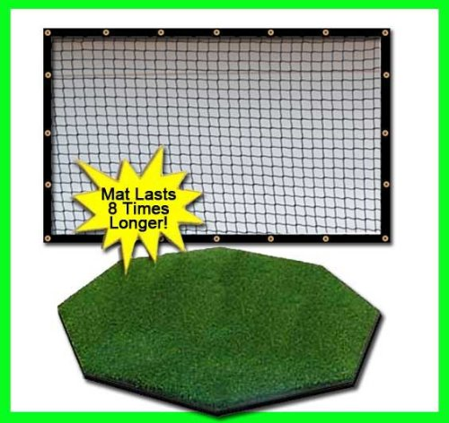 Golf Mat Golf Net Combo 9' x 15' High Velocity Impact Panel Plus a 5' x 5' Octagon Commercial Golf Mat; Free Ball Tray/Balls/Tees/60 Min. Full Swing Training DVD/Impact Decals and Correction Guide With Every Order! Everything You Need In One Package b by Dura-Pro Commercial Golf Mat 9x15 Golf Net Combo (Image #6)