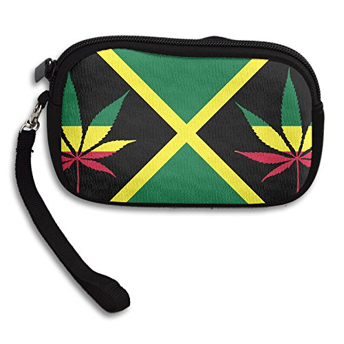 Jamaica Flag Weed Leaf Zipper Change Purse Coin Wallet Card Holder With Key Ring Portable Purse Pouch Bag