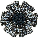 Brooches Store Antique Silver & Sapphire Blue Swarovski Crystal Hollyhock Brooch