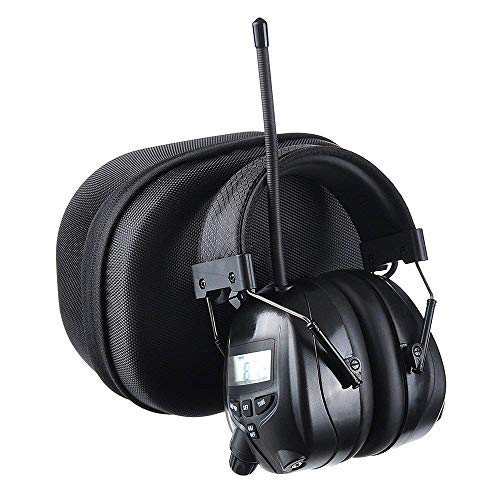 PROTEAR Noise Reduction Wireless Earmuffs with MP3/AM FM Digital Radio, NRR 25dB Professional Ear Hearing Protection Headphones with a Carrying Case, Electronic Ear Defenders for Working Mowing Lawn ()