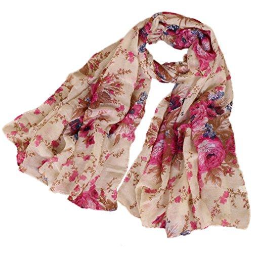 LMVERNA Women peony flowers Scarf fashion Lightweight printe scarves Shawl Wrap design long Scarves