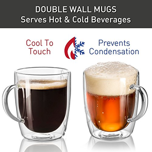 18 oz Large Coffee Mug - Double Wall Insulated Glass, Unique Gift set of 2. Keeps Hot Or Cold Drinks Longer - Clear Coffee Mugs - JECOBI by JECOBI (Image #2)