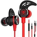 Wired E-Sport Earphone Noise Cancelling Stereo Bass Gaming Headphone With Mic , KEKU 3.5mm Hifi Earbuds with Extension Cable and PC Adapter for PC, Laptop and Cellphones (red)
