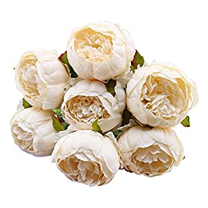 "UPDD 1 Bouquet Vintage Artificial Peony Silk Flowers Bouquet,18"" Silk 7 Big Head Hydrangea Bouquet for Home Wedding Decoration,Beige 60"