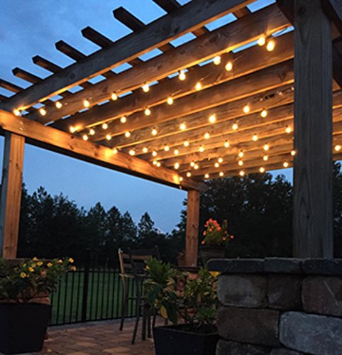 2-Pack 25Ft Outdoor Patio String Lights with 25 Clear Globe G40 Bulbs, UL Certified for Porch Backyard Deck Bistro Gazebos Pergolas Balcony Wedding Markets Decor, Black by Brightown (Image #3)'