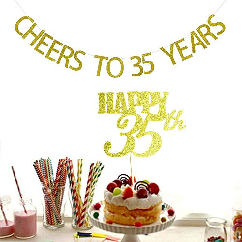 Party Banner Decoration Cheers To 35 Years 35th Birthday Glitter Banner
