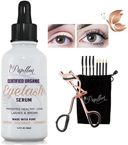 Papillon Organic Eyelash Growth Serum with Castor, Coconut & Avocado Oils + Vitamin E