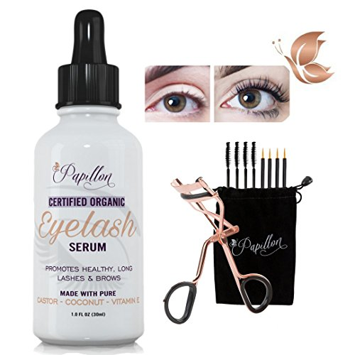 Papillon Organic Eyelash Growth Serum with Castor, Coconut & Avocado Oils + Vitamin E (Butterfly Effect Mascara)
