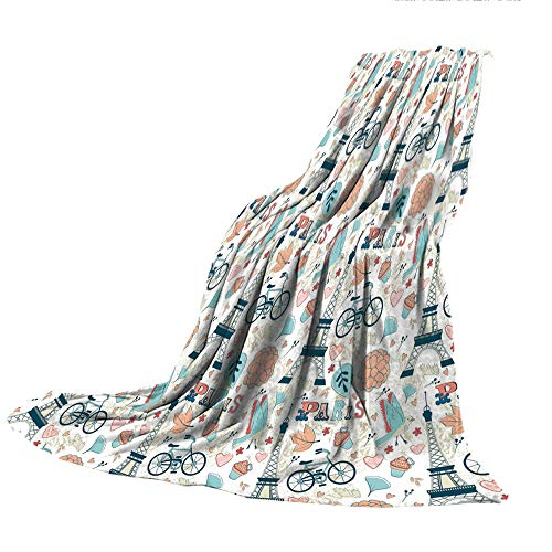 - SCOCICI Super Thick Flannel Double-Sided Printing Blanket,Paris,Dove Cupcake Eiffel Tower Flowers Falling Leaves Love Grungy Autumn in France Theme Decorative,Multicolor,31.50