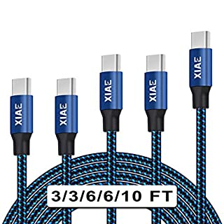 USB C Cable,XIAE 5Pack (3/3/6/6/10FT) Nylon Braided Fast Charging Cable Aluminum Housing Compatible with Samsung Galaxy S10 S9 Note 9 8 S8 Plus,LG V30 V20 G6,Google Pixel,Huawei P30/P20-Black&Blue