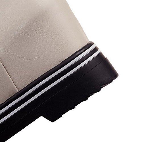 Allhqfashion Donna Tacco Tacco Solido Punta Chiusa Stivale Morbido Materiale Stivali Beige