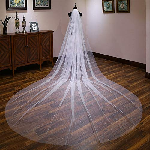 (Oureong Wedding Veil Soft Tulle Wedding Bridal Veils 4 Meters Long Cathedral Chapel Floor Veils (Color : Ivory White, Size : 400cm300cm))