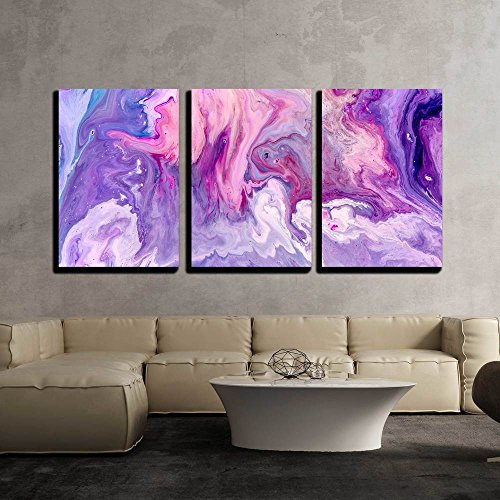 "Wall26 - 3 Piece Canvas Wall Art - Abstract Purple Paint Background. Acrylic Texture with Marble Pattern - Modern Home Decor Stretched and Framed Ready to Hang - 16""x24\""x3 Panels"