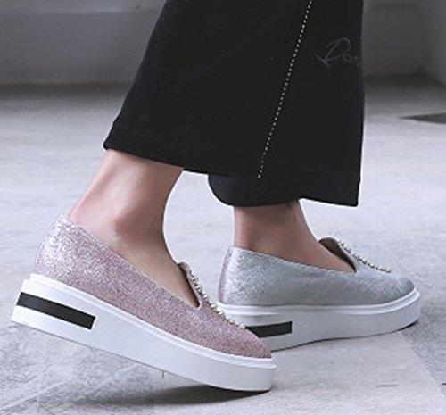 Aisun Femmes Élégant Cloutés Semelle Épaisse Carrés Toe Mocassins Glisser Sur Plat Plate-forme Mode Sneakers Chaussures Rose
