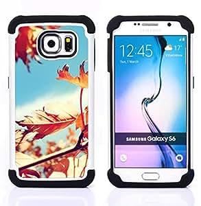"""Hypernova Híbrido Heavy Duty armadura cubierta silicona prueba golpes Funda caso resistente Para Samsung Galaxy S6 / SM-G920 [Soleado Árbol Hojas Hermosa""""]"""