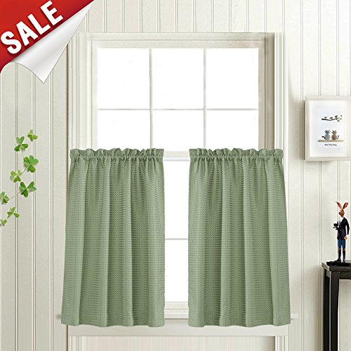 (Waffle-Weave Textured Tier Curtains for Kitchen Water-Proof Window Curtains for Bathroom (72-inch x 36-inch, Sage, Set of Two))