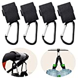 Bassion Stroller Hook - 4 Pack of Multi Purpose Hooks - Hanger for Baby Diaper Bags, Groceries, Clothing, Purse