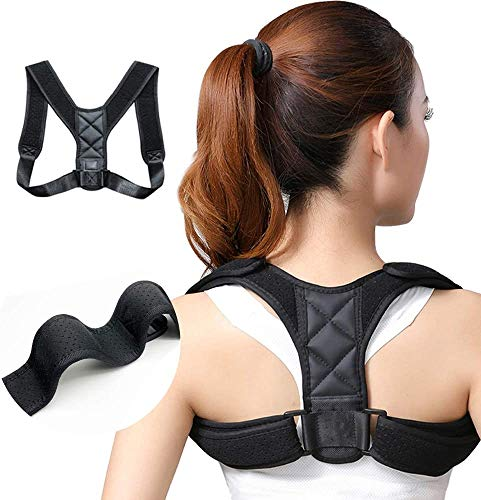 Portzon Posture Corrector for Men and Women – USA Patented Design – Adjustable Upper Back Brace for Clavicle Support and…