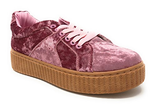 Pink Label Women's Stylish Chic Lace-up Velvet Fashion Sneaker in Blush Pink Size: 7