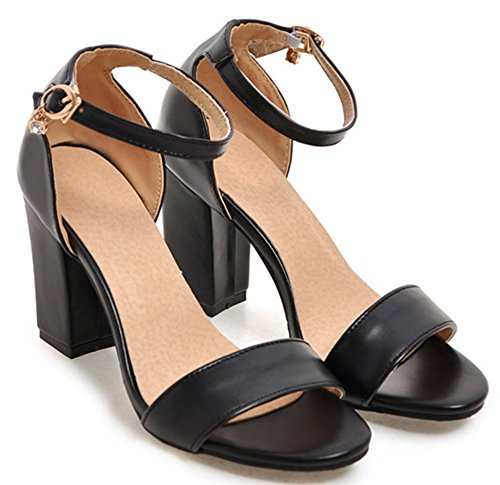 Easemax Womens Fashion Open Toe High Block Heels Buckled Ankle Strap Sandals Black pB4cU73M