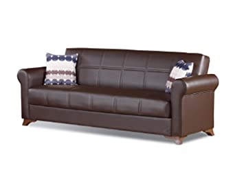 BEYAN Queens Collection Modern Convertible Folding Sofa Bed with Storage  Space Includes 2 Pillows, Dark Brown