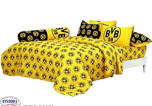 Borussia Dortmund BVB Fc Football Club Soccer Team Official Licensed Bedding Set, Fitted Bed Sheet, Pillow Case, Bolster Case, Comforter DM001 Set B+1 (Queen 60''x78'') by Tamegems Bedding