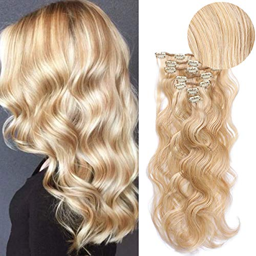 - 18inch Wavy Clip in Hair Extensions Colored Color Golden Brown #12 Mix Bleach Blonde #613 for Full Head 70grams 7pcs 18in Long Soft Real Remy Hair