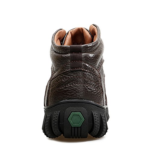 EnllerviiD Mens Winter Leather High Top Snow Boots Fur Lined Outdoor Shoes Wide Working Booties 1618 Brown Fur Lined mbjWiTWtiR