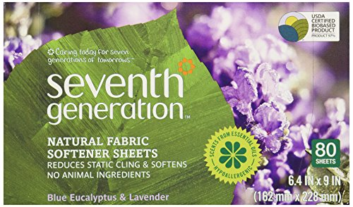 Price comparison product image Seventh Generation Fabric Softener Sheets,  Blue Eucalyptus & Lavender,  80 ct