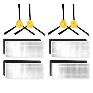 Louu 4 * Cepillo lateral + 4 * Filtro HEPA + 4 * filtro de esponja para la CONGA EXCELENCIA 990 del Piezas Robot Aspirador de polvo: Amazon.es: Hogar