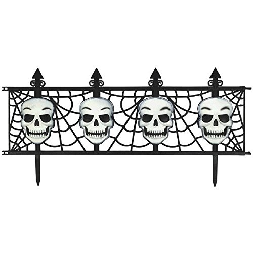 Creepy Cemetery Halloween Party Skull Fence Decoration, Plastic, 12